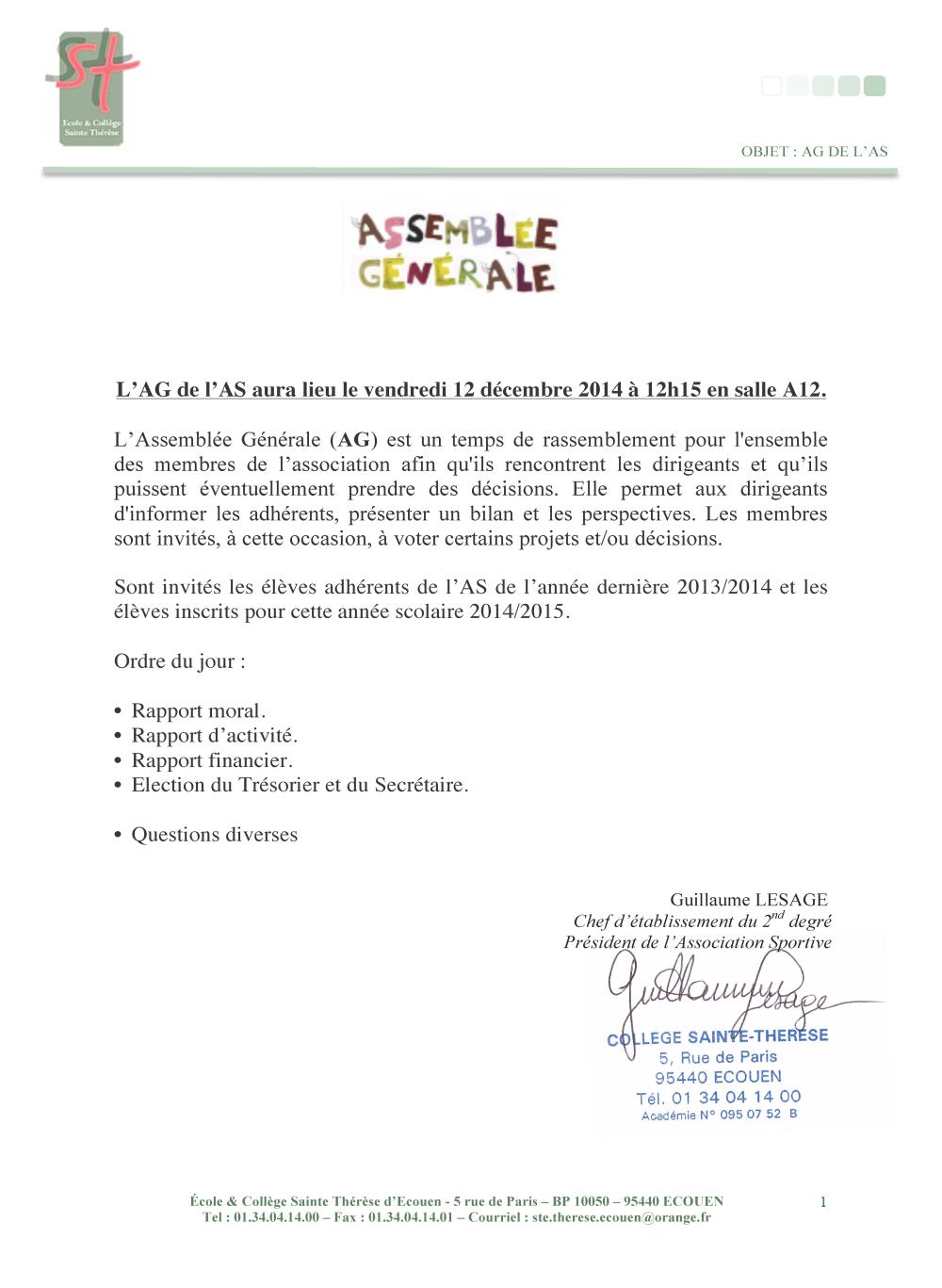 AG de L'AS 2014
