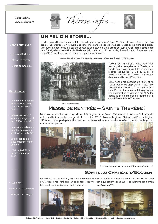 Ste Thérèse Infos 1